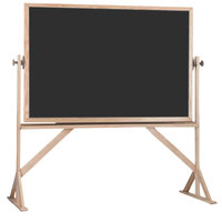 Aarco RBC4872B 48 inch x 72 inch Reversible Free Standing Black Composition Chalkboard / Natural Cork Board with Solid Oak Wood Frame