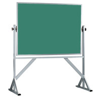 Aarco ACB3648G 36 inch x 48 inch Reversible Free Standing Green Composition Chalkboard / Natural Cork Board with Satin Anodized Aluminum Frame