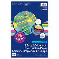 SunWorks 6526 Smart-Stack 12 inch x 18 inch Assorted Color Pack of 58# Heavy Weight Construction Paper - 150/Sheets