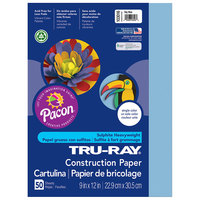 Pacon 103016 Tru-Ray 9 inch x 12 inch Sky Blue Pack of 76# Construction Paper - 50/Sheets