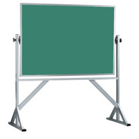 Aarco ACB4260G 42 inch x 60 inch Reversible Free Standing Green Composition Chalkboard / Natural Cork Board with Satin Anodized Aluminum Frame