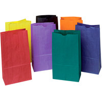 Pacon 0072140 6 inch x 3 5/8 inch x 11 inch Assorted Rainbow Color 6# Uncoated Kraft Paper Bag - 28/Pack