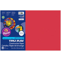 Pacon 102994 Tru-Ray 12 inch x 18 inch Holiday Red Pack of 76# Construction Paper - 50/Sheets