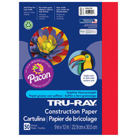 Pacon 103431 Tru-Ray 9 inch x 12 inch Festive Red Pack of 76# Construction Paper - 50/Sheets