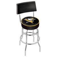 Holland Bar Stool L7C430PitPen Pittsburgh Penguins Double Ring Swivel Stool with Padded Back and Seat