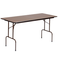 Correll PC2472P01 24 inch x 72 inch Walnut Solid High Pressure Heavy Duty Folding Table with Plywood Core