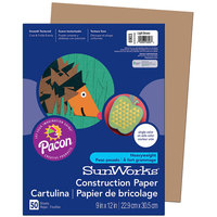 SunWorks 6903 9 inch x 12 inch Light Brown Pack of 58# Construction Paper - 50/Sheets