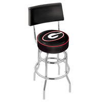 Holland Bar Stool L7C430GA-G University of Georgia Double Ring Swivel Stool with Padded Back and Seat