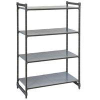 Cambro CBU186084S4580 Camshelving® Basics Plus Solid 4-Shelf Stationary Starter Unit - 18 inch x 60 inch x 84 inch