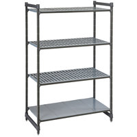 Cambro CBU184284VS4580 Camshelving® Basics Plus Stationary Starter Unit with 3 Vented Shelves and 1 Solid Shelf - 18 inch x 42 inch x 84 inch