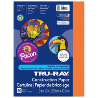 Pacon 103002 Tru-Ray 9 inch x 12 inch Orange Pack of 76# Construction Paper - 50/Sheets