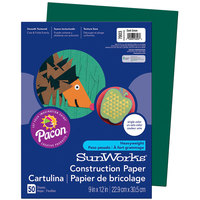 SunWorks 7803 9 inch x 12 inch Dark Green Pack of 58# Construction Paper - 50/Sheets - 50/Sheets