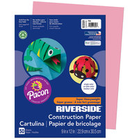 Pacon 103591 Riverside 9 inch x 12 inch Pink Pack of 76# Construction Paper - 50/Sheets