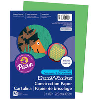 SunWorks 9603 9 inch x 12 inch Bright Green Pack of 58# Construction Paper - 50 Sheets