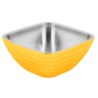 Vollrath 4763545 Double Wall Square Beehive 5.2 Qt. Serving Bowl - Nugget Yellow