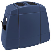 Commercial Zone 75824799 Islander Haven 2 55 Gallon Dark Blue Open Top Waste Container with 2 Paper Towel Dispensers and 2 Windshield Wash Stations