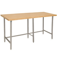 Advance Tabco TH2G-368 Wood Top Work Table with Galvanized Base - 36 inch x 96 inch