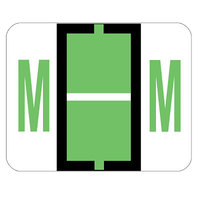 Smead 67083 1 inch x 1 1/4 inch Color-Coded Light Green M Bar-Style End Tab Label - 500/Roll