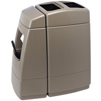 Commercial Zone 75814299 Islander Haven 1 55 Gallon Monterey Cliffs Brown Open Top Waste Container with Paper Towel Dispenser and Windshield Wash Station