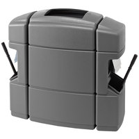Commercial Zone 758703 Islander Waste 'N Wipe 40 Gallon Dark Gray Open Top Waste Container with 2 Paper Towel Dispensers and 2 Windshield Wash Stations