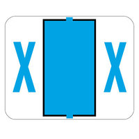 Smead 67094 1 inch x 1 1/4 inch Color-Coded Blue X Bar-Style End Tab Label - 500/Roll