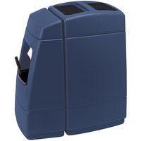 Commercial Zone 75814799 Islander Haven 1 55 Gallon Dark Blue Open Top Waste Container with Paper Towel Dispenser and Windshield Wash Station