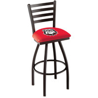Holland Bar Stool L01430GA-Dog University of Georgia Swivel Stool with Ladder Back and Padded Seat