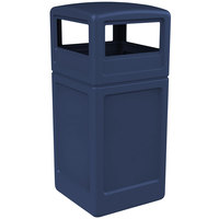 Commercial Zone 73294799 PolyTec 42 Gallon Dark Blue Waste Container with Dome Lid