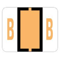 Smead 67072 1 inch x 1 1/4 inch Color-Coded Light Orange B Bar-Style End Tab Label - 500/Roll