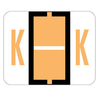 Smead 67081 1 inch x 1 1/4 inch Color-Coded Light Orange K Bar-Style End Tab Label - 500/Roll