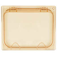 Carlisle 10438Z13 StorPlus EZ Access 1/2 Size Amber High Heat Hinged Lid with Two Handles