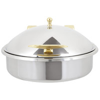 Vollrath 46121 6 Qt. Intrigue Solid Top Round Induction Chafer with Brass Trim and Stainless Steel Food Pan