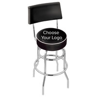 Holland Bar Stool Logo Double Ring Swivel Stool with Padded Back and Seat