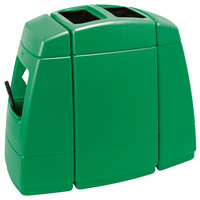 Commercial Zone 75823699 Islander Haven 2 55 Gallon Green Open Top Waste Container with 2 Paper Towel Dispensers and 2 Windshield Wash Stations