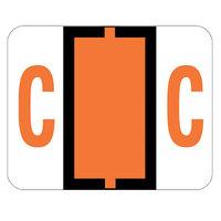 Smead 67073 1 inch x 1 1/4 inch Color-Coded Dark Orange C Bar-Style End Tab Label - 500/Roll