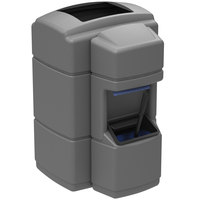 Commercial Zone 758903 Islander Waste 'N Wipe 40 Gallon Gray Open Top Waste Container with Paper Towel Dispenser and Windshield Wash Station
