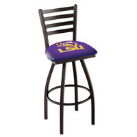Holland Bar Stool L01430LaStUn Louisiana State University Swivel Stool with Ladder Back and Padded Seat
