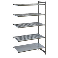 Cambro CBA184884VS5580 Camshelving® Basics Plus Add On Unit with 4 Vented Shelves and 1 Solid Shelf - 18 inch x 48 inch x 84 inch