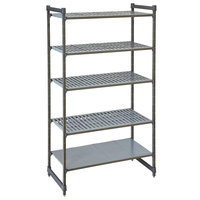 Cambro CBU184284VS5580 Camshelving® Basics Plus Stationary Starter Unit with 4 Vented Shelves and 1 Solid Shelf - 18 inch x 42 inch x 84 inch