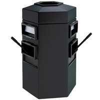 Commercial Zone 755401 Islander Bermuda 2 35 Gallon Black Hexagonal Open Top Waste Container with 2 Paper Towel Dispensers and 2 Windshield Wash Stations