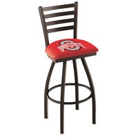 Holland Bar Stool L01430OhioSt Ohio State University Swivel Stool with Ladder Back and Padded Seat