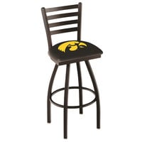 Holland Bar Stool L01430IowaUn University of Iowa Swivel Stool with Ladder Back and Padded Seat