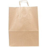 Duro Mart 13 inch x 7 inch x 17 inch Brown Shopping Bag with Handles - 250/Bundle