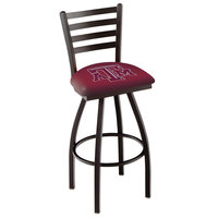 Holland Bar Stool L01430TexA-M Texas A&M Swivel Stool with Ladder Back and Padded Seat
