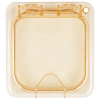 Carlisle 10518Z13 StorPlus EZ Access 1/6 Size Amber High Heat Hinged Lid with Handle