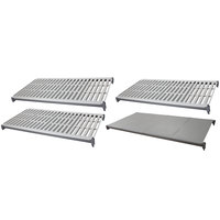 Cambro CBSK2448VS4580 Camshelving Basics Plus 24 inch x 48 inch Shelf Kit with 1 Solid and 3 Vented Shelves