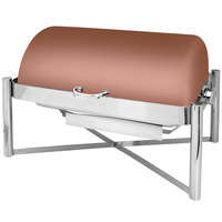 Eastern Tabletop 3124CP Pillar'd 8 Qt. Rectangular Copper Coated Stainless Steel Roll Top Chafer