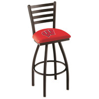 Holland Bar Stool L01430Wisc-W University of Wisconsin Swivel Stool with Ladder Back and Padded Seat