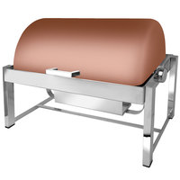 Eastern Tabletop 3144CP P2 8 Qt. Rectangular Copper Coated Stainless Steel Roll Top Chafer