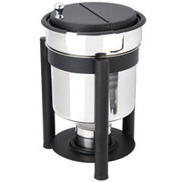 Eastern Tabletop 3107PLMB Pillar'd 7 Qt. Stainless Steel Soup Marmite with Black Accents and Fuel Holder